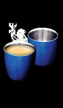 """זוג כוסות אספרסו נירוסטה 160 מ""""ל כחול"""