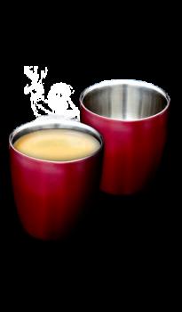 """זוג כוסות אספרסו נירוסטה 160 מ""""ל אדום"""