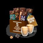 5 מארזי קפסולות וזוג כוסות דאבל גלאס