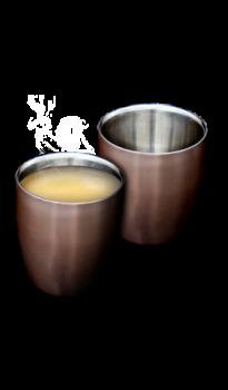 """זוג כוסות אספרסו נירוסטה 160 מ""""ל - צבע קפה"""